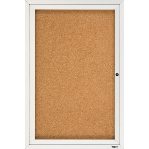 """Quartet Enclosed Bulletin Board for Indoor Use - 36"""" (914.40 mm) Height x 24"""" (609.60 mm) Width - Brown Natural Cork Surface - Hinged, Self-healing, Shatter Proof, Lock, Durable - Silver Aluminum Frame - 1 Each"""