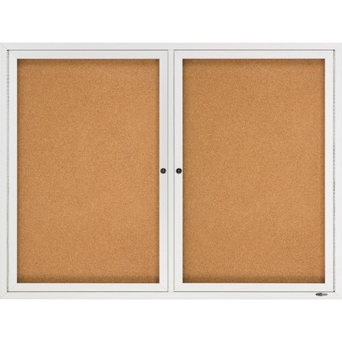 """Quartet Enclosed Bulletin Board for Indoor Use - 36"""" (914.40 mm) Height x 48"""" (1219.20 mm) Width - Brown Natural Cork Surface - Hinged, Self-healing, Shatter Proof, Rounded Corner, Durable - Silver Aluminum Frame - 1 Each"""