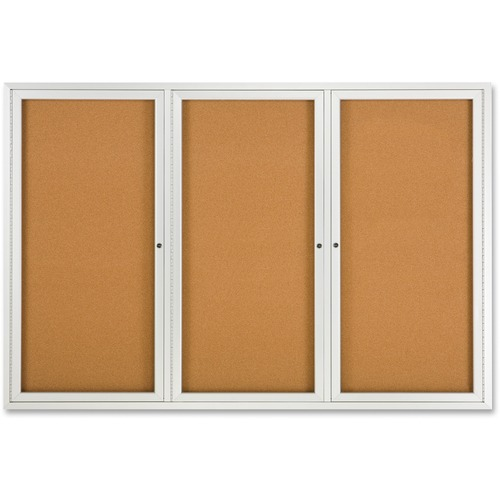 """Quartet Enclosed Bulletin Board for Indoor Use - 48"""" (1219.20 mm) Height x 72"""" (1828.80 mm) Width - Brown Natural Cork Surface - Hinged, Self-healing, Shatter Proof, Rounded Corner, Durable - Silver Aluminum Frame - 1 Each"""