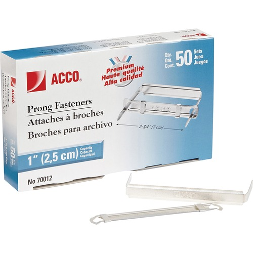 """Acco Standard 2H Punch Premium Prong Fastener Set - Standard - 2.75"""" (69.85 mm) Length - 1"""" Size Capacity - Heavy Duty, Coined Edge - Metal"""