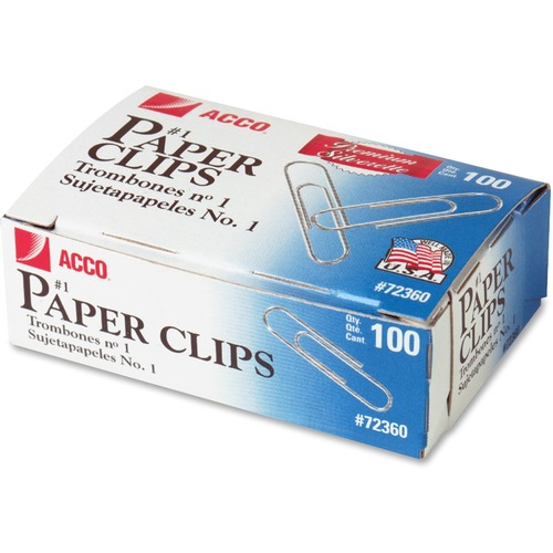 Acco Premium Paper Clips - No. 1 - 10 Sheet Capacity - Galvanized, Corrosion Resistant - Silver - Metal, Zinc Plated