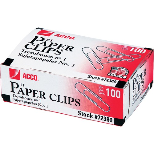 Acco Premium Paper Clips - No. 1 - 10 Sheet Capacity - Strain Resistant, Galvanized, Corrosion Resistant - Silver - Metal, Zinc Plated