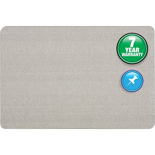 "Quartet Oval Office Bulletin Board - 36"" (914.40 mm) Height x 48"" (1219.20 mm) Width - Gray Fabric Surface - Frameless, Flexible - Gray Frame - 1 Each"