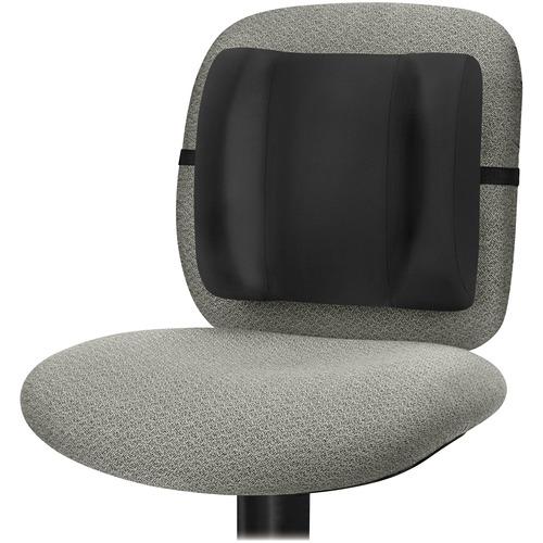 "Fellowes Standard Backrest - Black - Adjustable Strap, Ergonomic, Soft Brushed Cover, Cushioned - 13"" x 4"" x 12"" - Black"