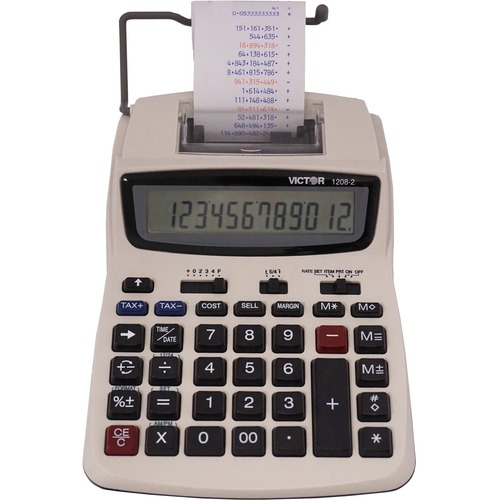 """Victor 12082 Printing Calculator - 2.3 - Extra Large Display, Clock, Date, Sign Change, Environmentally Friendly, Independent Memory, 4-Key Memory - AC Supply/Power Adapter Powered - 1.5"""" x 6"""" x 7.5"""" - White - 1 Each"""