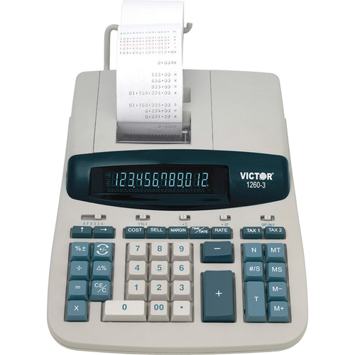 """Victor 12603 Commercial Calculator - 4.6 - Clock, Date, Independent Memory, Item Count, 4-Key Memory, Extra Large Display, Sign Change - AC Supply Powered - 8"""" x 11"""" x 2.8"""" - White, Gray - 1 Each"""