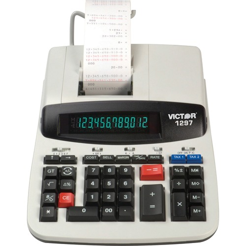 """Victor 1297 Commercial Calculator - Dual Color Print - 4 lps - Big Display - 12 Digits - LCD - AC Supply Powered - 3"""" x 8"""" x 11"""" - White - 1 Each"""