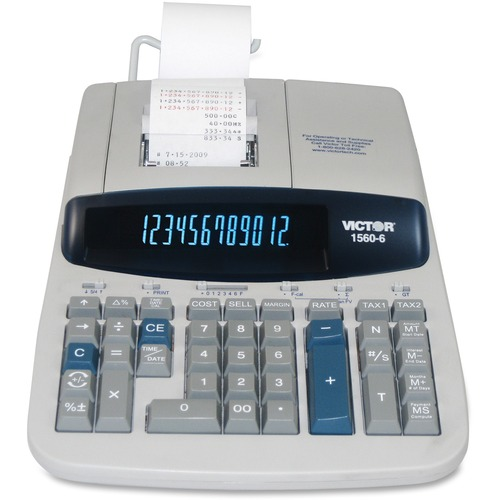 """Victor 15606 Printing Calculator - 5.2 - Clock, Date, Big Display, Independent Memory, Durable, Heavy Duty, Sign Change, Item Count, 4-Key Memory - AC Supply Powered - 2.8"""" x 8.8"""" x 12.5"""" - Gray - 1 Each"""