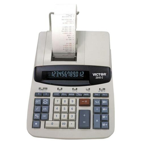 """Victor 26402 Commercial Print Calculator - Dual Color Print - Dot Matrix - 4.6 lps - Clock, Date, Big Display - 12 Digits - Fluorescent - AC Supply Powered - 8"""" x 11.3"""" x 3"""" - White - 1 Each"""