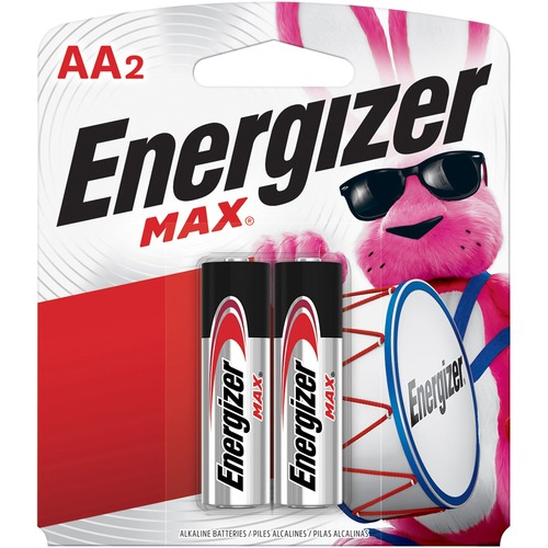Energizer MAX Alkaline AA Batteries, 2 Pack - For Multipurpose - AA - 1.5 V DC - Alkaline - 2 / Pack