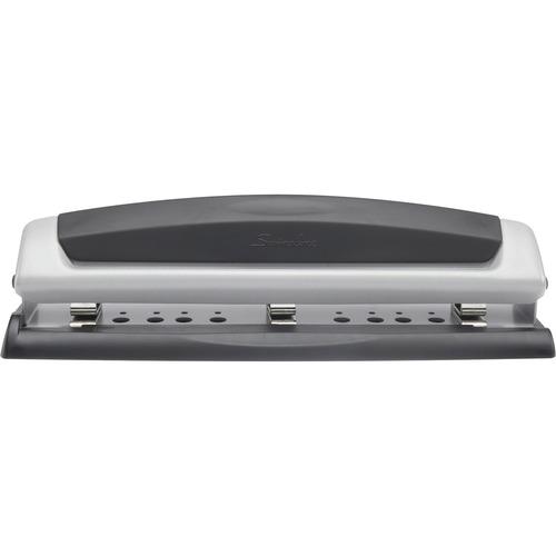 """Swingline Precision Pro Desktop Punch - 3 Punch Head(s) - 10 Sheet - 9/32"""" Punch Size - Black, Silver"""