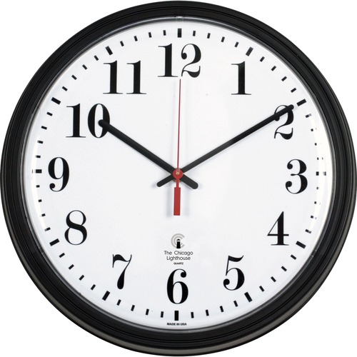 "Chicago Lighthouse 13-3/4"" Quartz Contract Clock - Digital - Quartz"