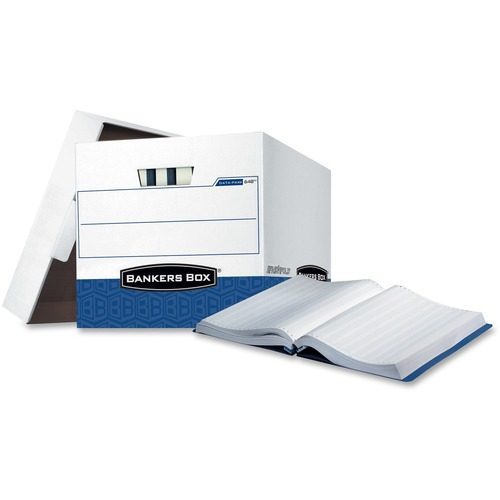 """Bankers Box Data-Pak Computer Paper - Internal Dimensions: 12.75"""" (323.85 mm) Width x 16"""" (406.40 mm) Depth x 12.50"""" (317.50 mm) Height - External Dimensions: 13.8"""" Width x 17.8"""" Depth x 13"""" Height - Lift-off Closure - Heavy Duty - Stackable - White, Blue"""