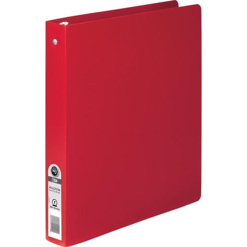 "Wilson Jones ACCOHIDE Binder - 1"" Binder Capacity - Letter - 8 1/2"" x 11"" Sheet Size - 175 Sheet Capacity - Round Ring Fastener(s) - 35 pt. Binder Thickness - Polypropylene - Executive Red - Eco-friendly, PVC-free, Tear Resistant, Durable, Semi-rigid - 1"