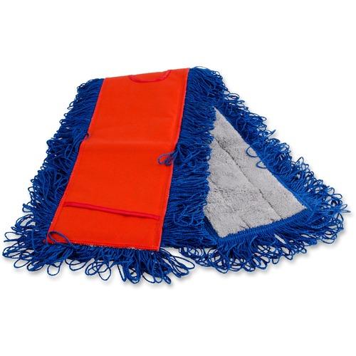 Genuine Joe Micro Fiber Dust Mop - MicroFiber - Red, Gray, Blue, White