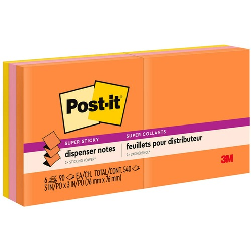 """Post-it® Super Sticky Pop-up Notes - Rio de Janeiro Color Collection - 540 - 3"""" x 3"""" - Square - 90 Sheets per Pad - Unruled - Pink, Orange, Yellow"""