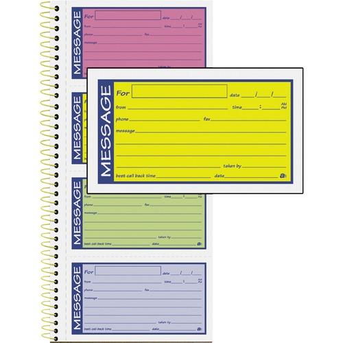 "Adams 2-Part Carbonless Phone Message Books - 200 Sheet(s) - Spiral Bound - 2 PartCarbonless Copy - 5.25"" x 11"" Form Size - Assorted Sheet(s) - 1 Each"