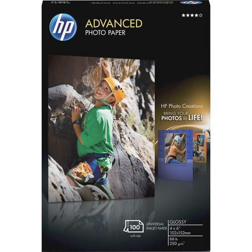 "HP Inkjet Photo Paper - Glossy - 4"" x 6"" - 66 lb Basis Weight - Glossy - 100 / Pack"
