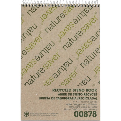 """Nature Saver Recycled Steno Book - 60 Sheets - Spiral - 6"""" x 9"""" - White Paper - Chipboard Cover - Back Board - Recycled - 1Each"""