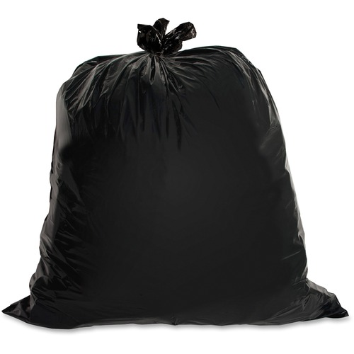 """Genuine Joe Heavy-Duty Trash Can Liners - Large Size - 45 gal - 39"""" Width x 46"""" Length x 1.50 mil (38 Micron) Thickness - Low Density - Black - 50/Car"""