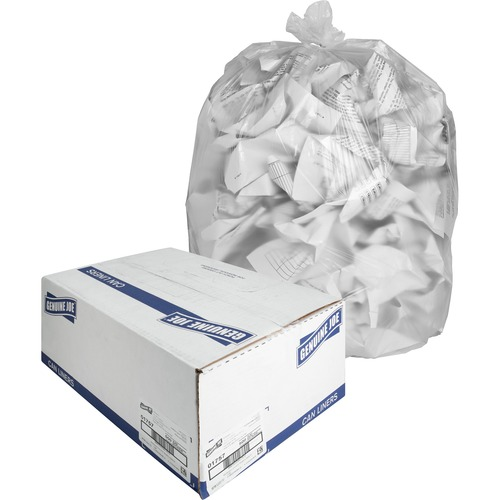 """Genuine Joe High-density Can Liners - Medium Size - 33 gal - 33"""" Width x 40"""" Length x 0.43 mil (11 Micron) Thickness - High Density - Clear - Resin -"""