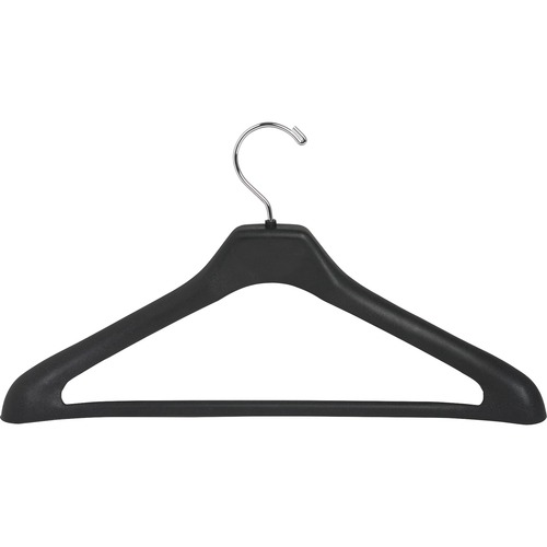 Lorell 1-piece Plastic Suit Hangers - for Garment - Plastic, Metal - Black - 24 / Pack