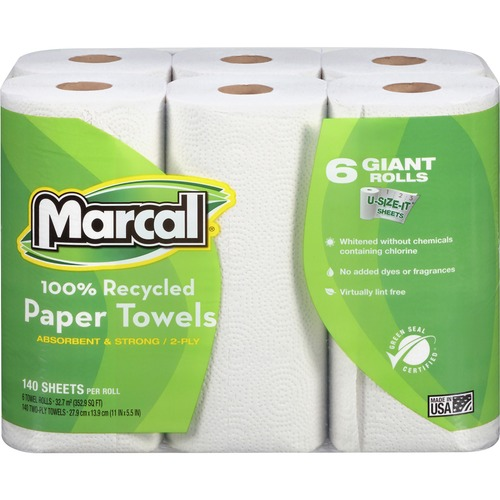Marcal 100% Recycled, Giant Roll Paper Towels - 2 Ply - 140 Sheets/Roll - White - Perforated, Absorbent - 6 / Pack
