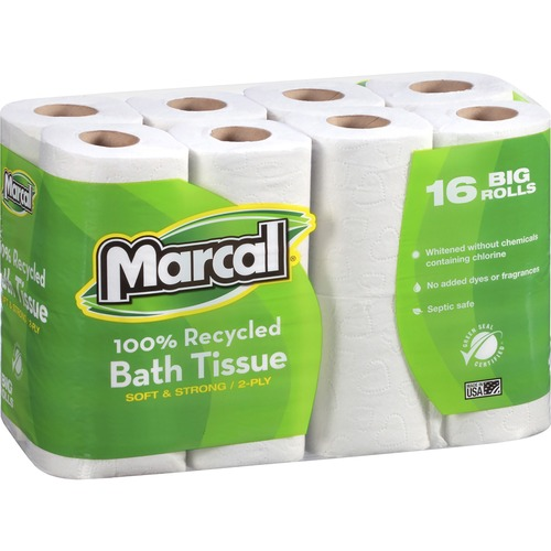 """Marcal 100% Recycled, Soft & Absorbent Bathroom Tissue - 2 Ply - 4.20"""" x 3.60"""" - 168 Sheets/Roll - White - Fiber - Soft, Lint-free, Septic Safe - For"""