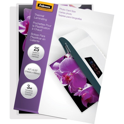 """Fellowes Glossy Pouches - Photo, 3 mil, 25 pack - Laminating Pouch/Sheet Size: 6.25"""" Width x 3 mil Thickness - Type G - Glossy - for Photo, Document - Durable - Clear"""