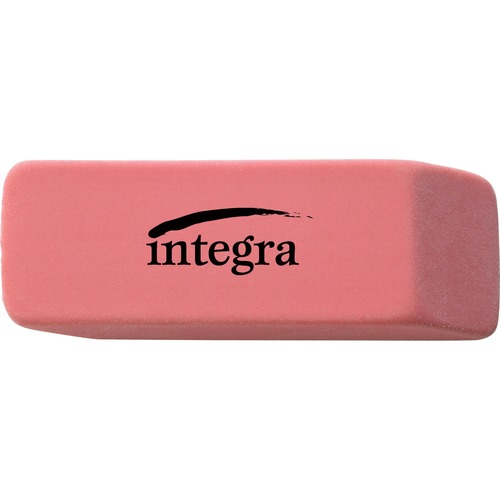 "Integra Pink Pencil Eraser - Pink - 2"" (50.80 mm) Width x 0.80"" (20.32 mm) Height x 0.40"" (10.16 mm) Depth x - 1 Each - Soft, Pliable, Latex-free"
