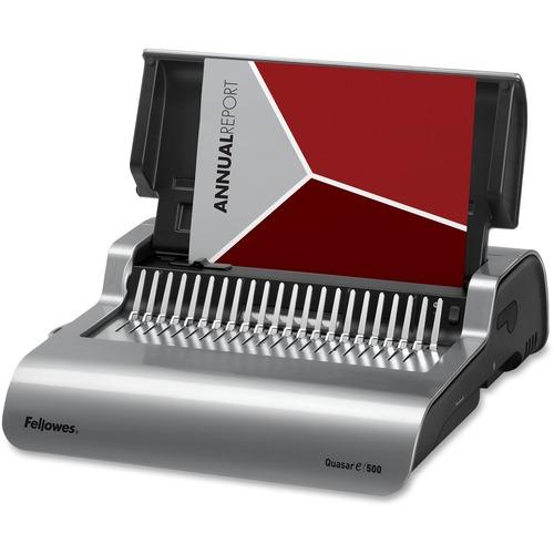 "Fellowes Quasar™ E 500 Electric Comb Binding Machine w/ Starter Kit - CombBind - 500 Sheet(s) Bind - 25 Punch - 5.13"" (130.30 mm) x 16.88"" (428.75 mm) x 15.38"" (390.65 mm) - Metallic Silver, Black"