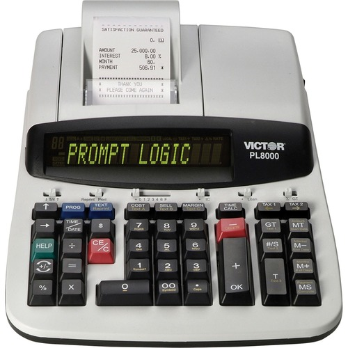 """Victor PL8000 Thermal Printing Calculator - 8 - Date, Clock, Heavy Duty, Backlit Display, Durable, Independent Memory, 4-Key Memory - AC Supply Powered - 4"""" x 8.8"""" x 13.5"""" - Gray, White - 1 Each"""