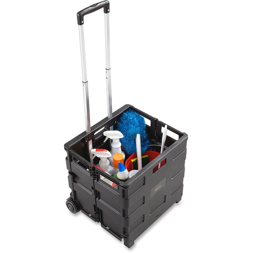 """Safco Stow Away Folding Caddy - Telescopic Handle - 22.68 kg Capacity - 2 Casters - x 16.5"""" Width x 14.5"""" Depth x 39"""" Height - Black, Silver - 1 Each"""
