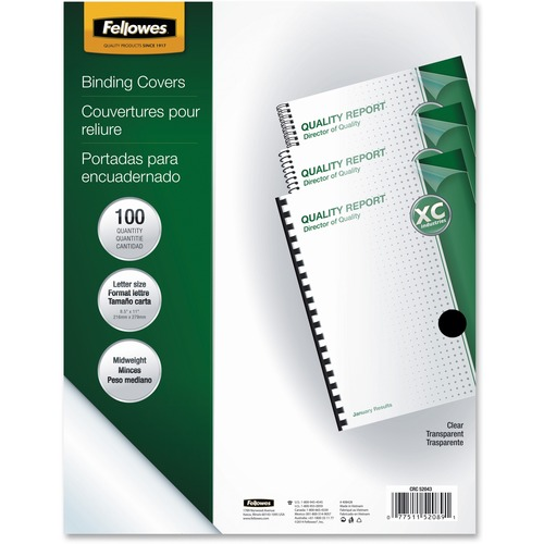 Letter Fellowes Pet Ultra Clear Binding Covers 5mil Polyethylene 100 Pack
