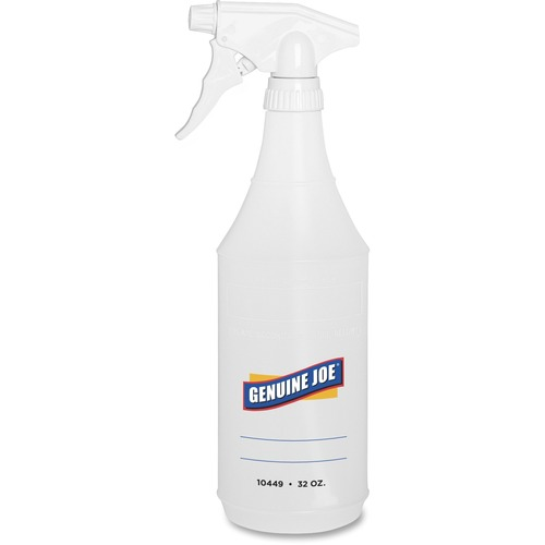 Genuine Joe 32-oz. Trigger Spray Bottle - Suitable For Cleaning - Adjustable, Flexible - 2 / Pair - Clear
