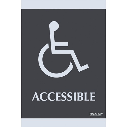 """HeadLine Century Handicap Accessible Sign - 1 Each - Accessible Print/Message - 6"""" (152.40 mm) Width x 9"""" (228.60 mm) Height - Silver Print/Message Color - Self-adhesive - Plastic - Black"""