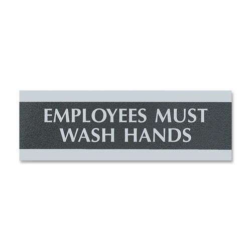 """U.S. Stamp & Sign Employees Must Wash Hands Sign - 1 Each - Employees Must Wash Hands Print/Message - 9"""" (228.60 mm) Width x 3"""" (76.20 mm) Height - Silver Print/Message Color - Mounting Hardware - Black"""