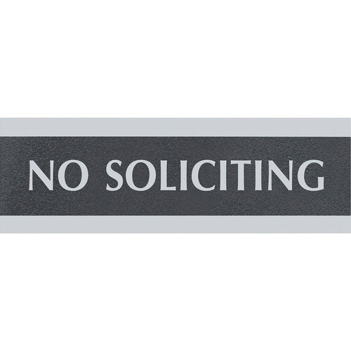 """HeadLine Century No Soliciting Sign - 1 Each - No Soliciting Print/Message - 9"""" (228.60 mm) Width x 3"""" (76.20 mm) Height - Silver Print/Message Color - Mounting Hardware - Black"""