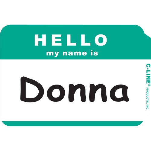 """C-Line Hello My Name Is Adhesive Name Badges - """"Hello My Name Is"""" - 3 1/2"""" x 2 1/4"""" Length - Rectangle - Green - 100 / Box"""