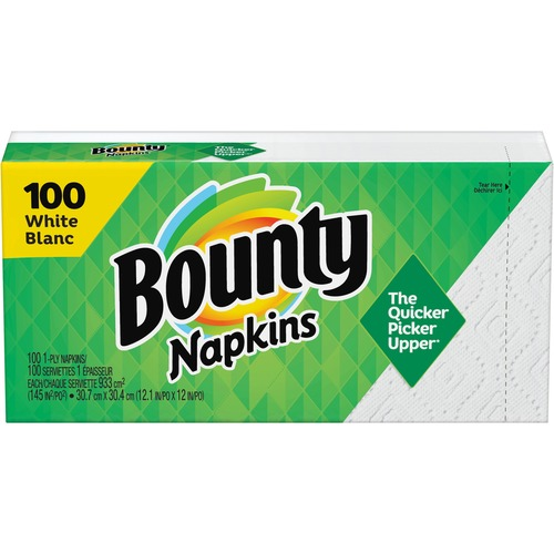 """Bounty Quilted Napkins - 1 Ply - 12.10"""" x 12"""" - White - Paper - Soft - 100 / Pack"""