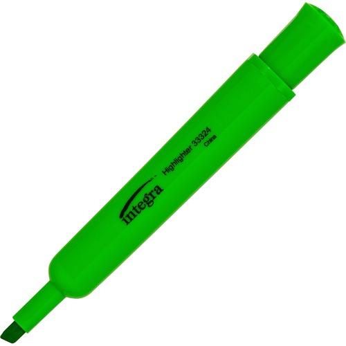 Integra Chisel Desk Liquid Highlighters - Chisel Marker Point Style - Green - 12 / Dozen