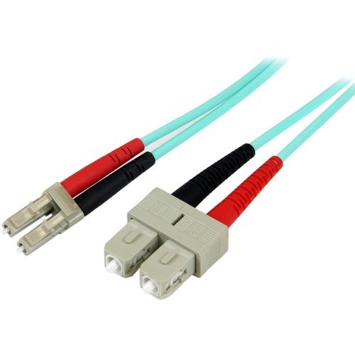 StarTech.com 2m 10 Gb Aqua Multimode 50/125 Duplex LSZH Fiber Patch Cable LC | SC