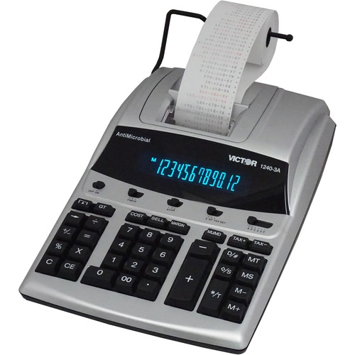 """Victor 12403A Professional Calculator - Dual Color Print - Dot Matrix - 4.3 lps - Big Display, Independent Memory - 12 Digits - Fluorescent - AC Supply/Power Adapter Powered - 3.3"""" x 9"""" x 12.8"""" - White - 1 Each"""