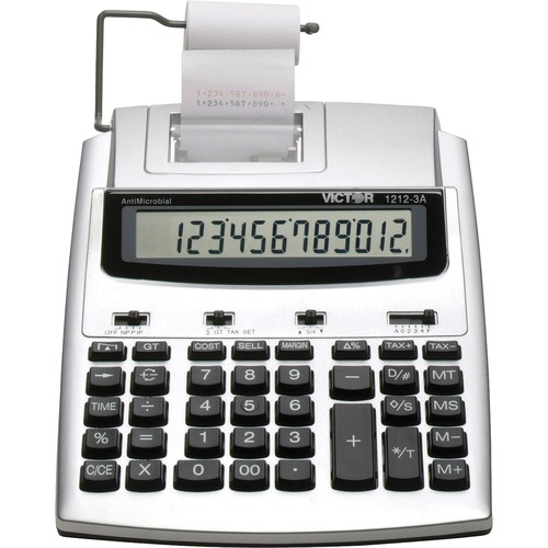 """Victor 12123A Printing Calculator - 2.7 - Extra Large Display, Date, Clock, Environmentally Friendly, Item Count, 4-Key Memory, Independent Memory, Dual Power - Battery/Power Adapter Powered - 2.5"""" x 7.8"""" x 9.8"""" - White, Silver - Plastic - 1 Each"""
