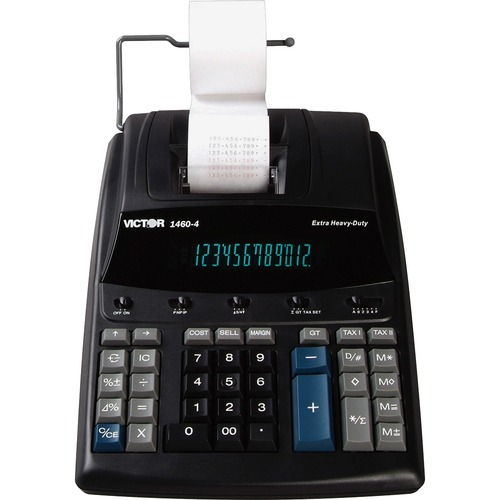 """Victor 14604 Printing Calculator - 4.6 - Independent Memory, Big Display, Heavy Duty, Sign Change, Item Count, 4-Key Memory, Easy-to-read Display - 3.3"""" x 8"""" x 12.3"""" - Black - 1 Each"""