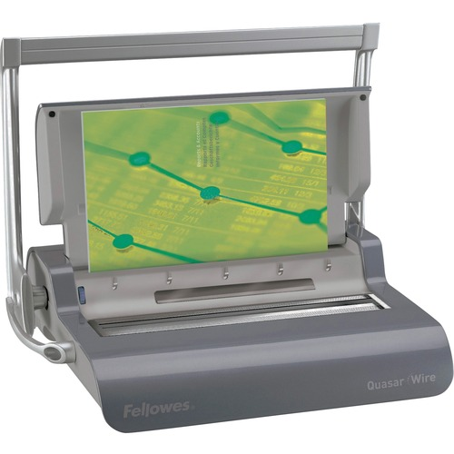 "Fellowes Quasar™ Manual Wire Binding Machine w/ Starter Kit - WireBind - 130 Sheet(s) Bind - 15 Punch - 5.13"" (130.30 mm) x 18.13"" (460.50 mm) x 15.38"" (390.65 mm) - Metallic Silver"