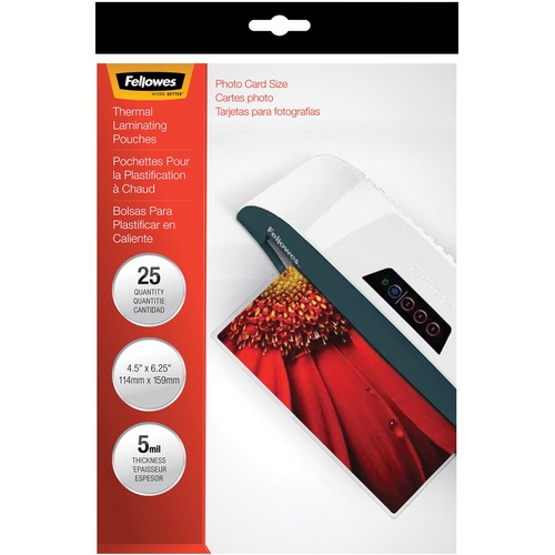 """Fellowes Glossy Pouches - 5mil, Photo, 25 pack - Sheet Size Supported: Photo-size - Laminating Pouch/Sheet Size: 6.25"""" Width x 5 mil Thickness - Type G - Glossy - for Document, Photo - Durable - Clear - 25 / Pack"""