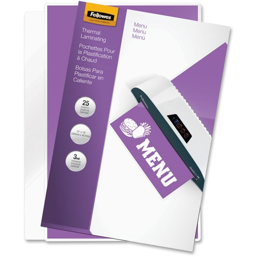 """Fellowes Glossy Pouches - Menu, 3 mil, 25 pack - Sheet Size Supported: Menu - Laminating Pouch/Sheet Size: 11.50"""" Width x 3 mil Thickness - Type G - Glossy - for Document, Menu - Durable - Clear - 25 / Pack"""