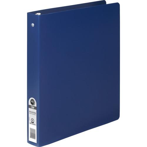 "Wilson Jones ACCOHIDE Binder - 1"" Binder Capacity - Letter - 8 1/2"" x 11"" Sheet Size - 175 Sheet Capacity - Round Ring Fastener(s) - 35 pt. Binder Thickness - Polypropylene - Blue - Eco-friendly, PVC-free, Tear Proof, Semi-rigid - 1 Each"