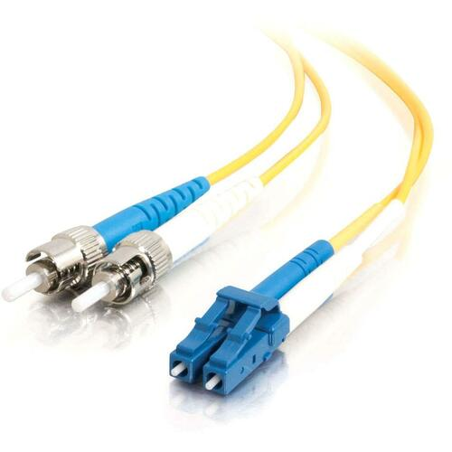 5M LC-ST 9/125 OS1 DUPLEX SINGLE-MODE PVC FIBER OPTIC CABLE - YELLOW